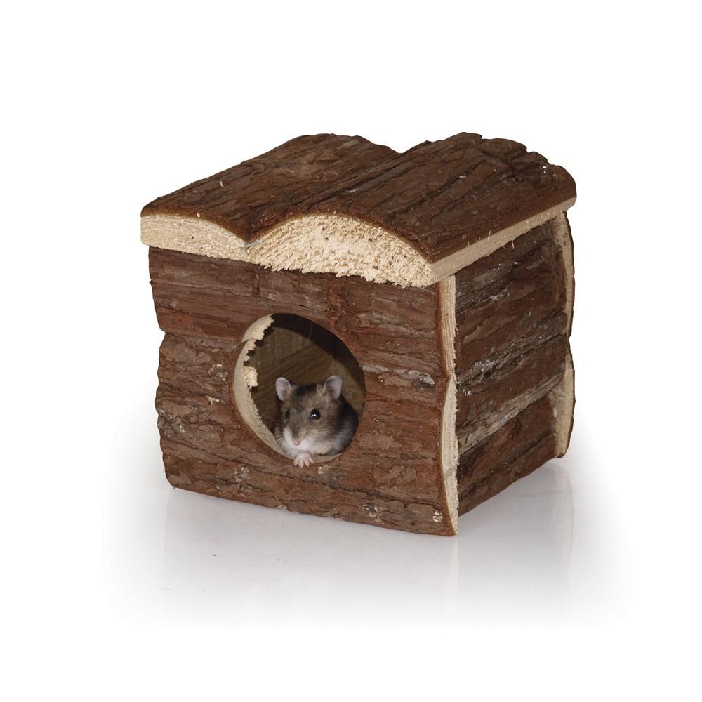 Dřevěný domeček s kůrou - křeček