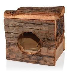 Dřevěný domeček s kůrou VELKÝ pro křečky, osmáky a další hlodavce