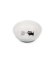 Keramický talířek bílý s kočkou, protiskluzový