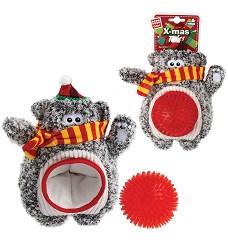 GiGwi vánoční méďa s ježatým míčkem, 24 cm